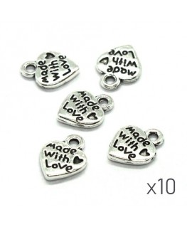 Breloques coeur made with love argent vieilli x10