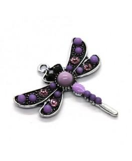 Breloque pendentif libellule violet 30mm