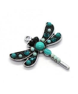 Breloque pendentif libellule turquoise 30mm