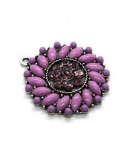 Breloque pendentif ronde violet 29mm