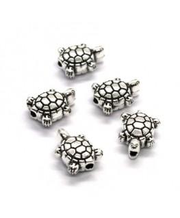 Perles tortue en métal argent vieilli 10mm x5