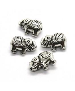 Perles éléphant en métal argent vieilli 13mm x4