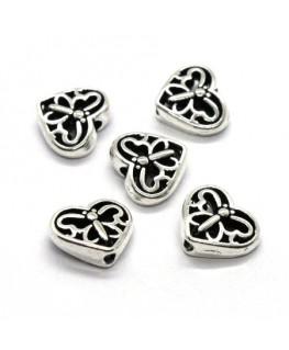 Perles coeur papillon en métal argent vieilli 10mm