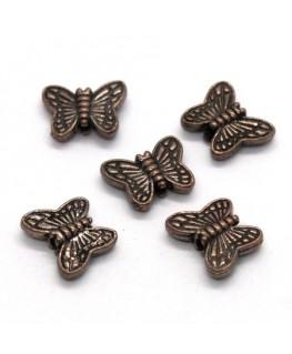Perles papillon en métal cuivre 10mm x10