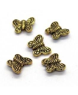 Perles papillon en métal doré 10mm x10