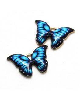 Breloque papillon émaillée bleu turquoise x2