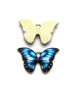 Breloques papillon émaillées 22mm bleu turquoise