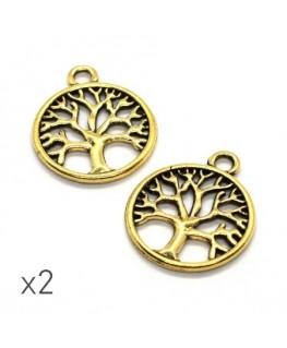 Breloque arbre de vie 24mm doré x2
