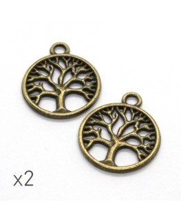 Breloque arbre de vie 24mm bronze x2