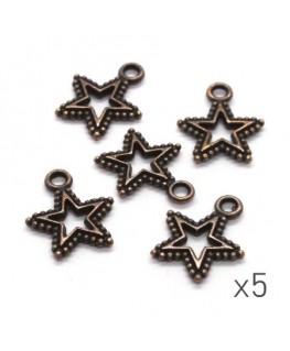 Breloques étoile ajourées 17mm cuivre x5