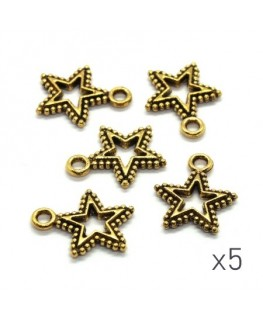 Breloques étoile ajourées 17mm dorées x5