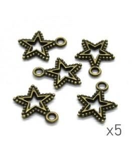 Breloques étoile ajourées 17mm bronze x5