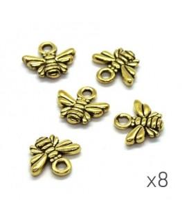 Breloques abeille 10mm dorées x8