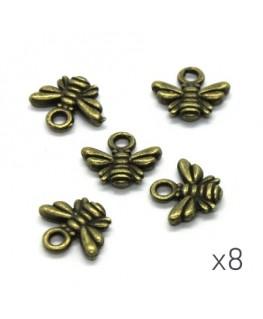 Breloques abeille 10mm bronze x8