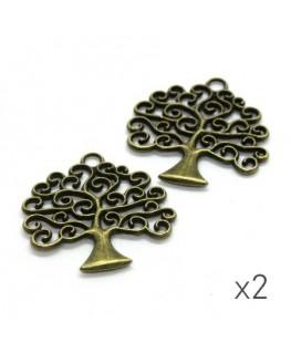Breloque arbre 26mm bronze x2