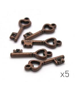 5 breloques clé 20mm cuivre