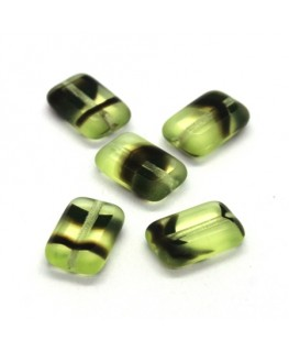 Perles rectangulaires plates en verre vert et noir x5