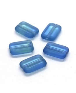 Perles rectangulaires plates en verre vert et bleu x5
