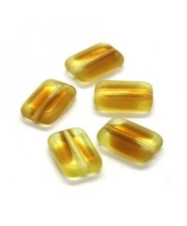 Perles rectangulaires plates en verre jaune et orange x5