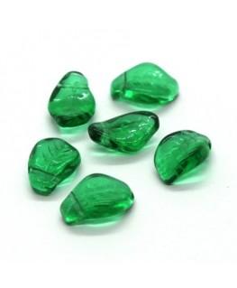 Perles feuilles en verre 15mm vert menthe x10