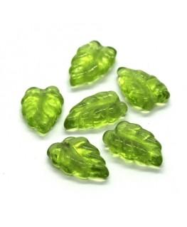 Perles feuilles en verre 16mm vert clair x10