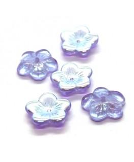 Perle fleur en verre lilas AB 16mm x5