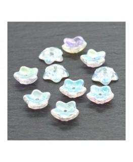 Perle fleur en verre cristal AB 10mm x10
