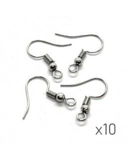 Crochets boucles d'oreilles 17mm vieil argent x10