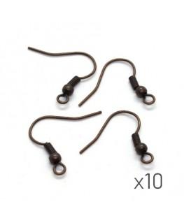 Crochets boucles d'oreilles 17mm cuivre x10