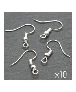 Crochets boucles d'oreilles argentés 17mm x10