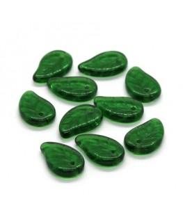 Perles feuille en verre vert émeraude x10