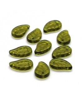 Perles feuille en verre vert kaki x10