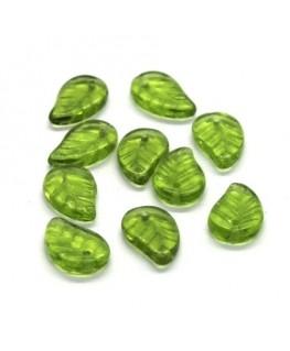 Perles feuille en verre vert olivine x10
