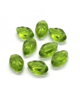 Perle feuille en verre 12mm olivine x10