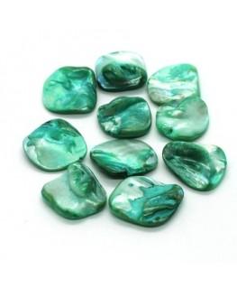 Perles gros chips coquillage vert jade