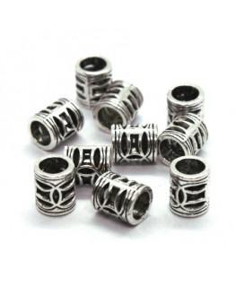 Perles métal tube gros trou argent vieilli