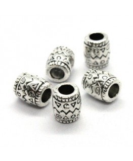 Perles métal tonneau gros trou argent vieilli