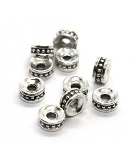 Perles métal rondelles intercalaires argent vieilli 6mm