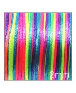 Cordon satin queue de rat 2mm multicolore