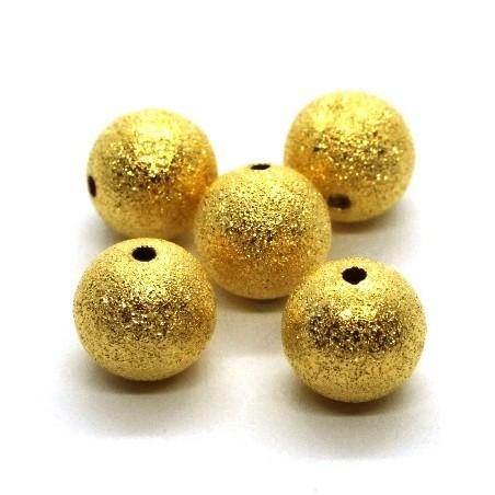 Perles stardust pailletées 12mm dorées x5