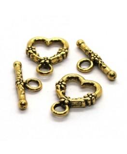 Fermoirs toggle coeur 14mm doré x2