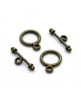 Mini fermoirs toggle ronds 9mm bronze x2