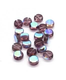 Perles palets en verre 6mm violine AB x20