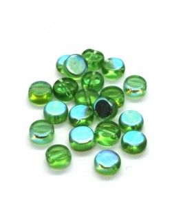 Perles palets en verre 6mm vert AB x20