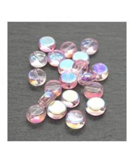 Perles palets en verre 6mm rose AB x20