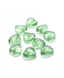Perles feuilles en verre 9mm vert clair x10