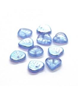 Perles feuilles en verre 9mm bleu clair x10