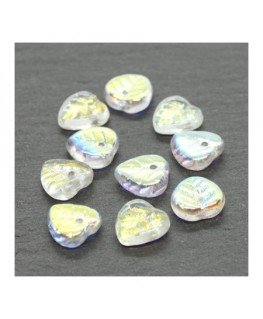Perles feuilles en verre 9mm cristal AB x10