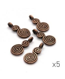 Breloques spirale cuivre 18mm x5