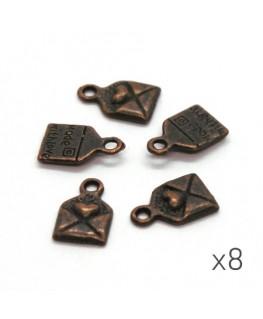 Breloques lettre cuivre 10mm x8